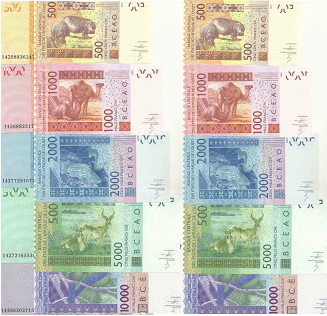 500, 1000, 2000, 5000 and 10,000F Francs  UNC 5 Banknote Set