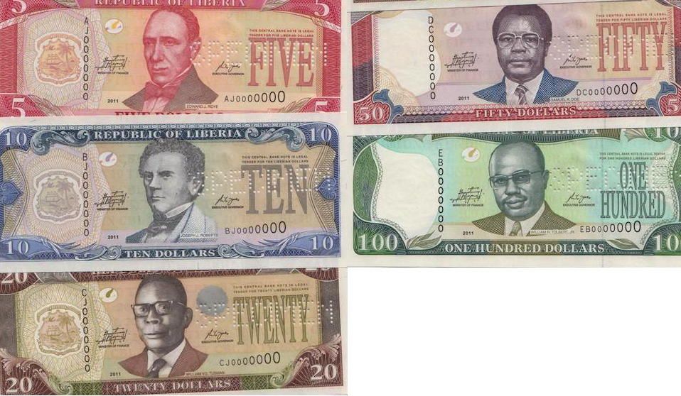 5, 10, 20, 50, 100 and 500 Dollars  UNC 5 Banknote Set
