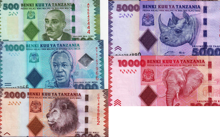 500, 1000, 2000, 5000, and 10,000 Shillings  UNC 5 Banknote Set